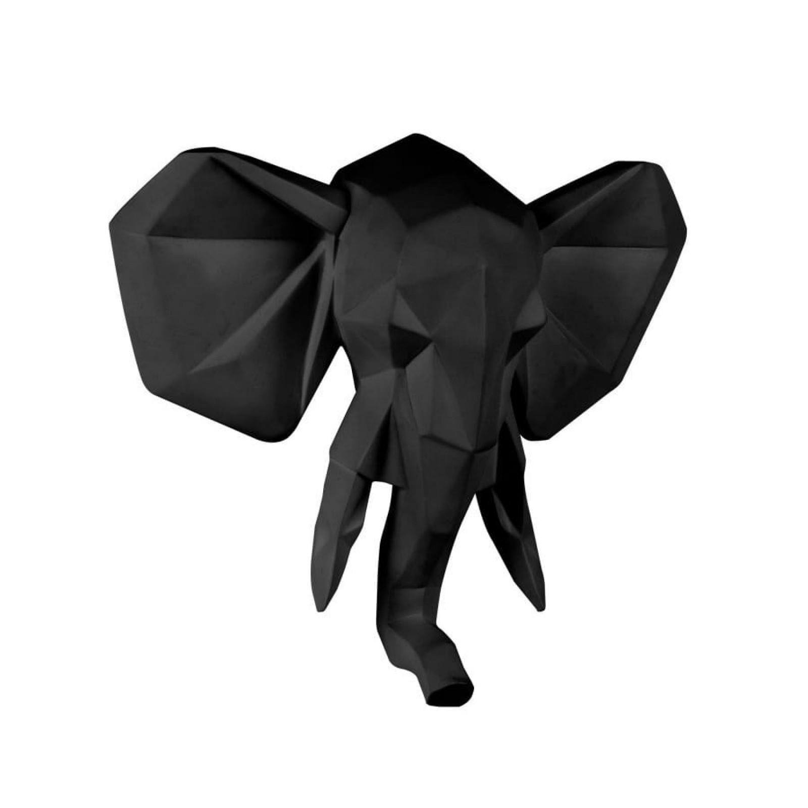 Origami Elephant Wall Hanger (Matt Black) - Present Time