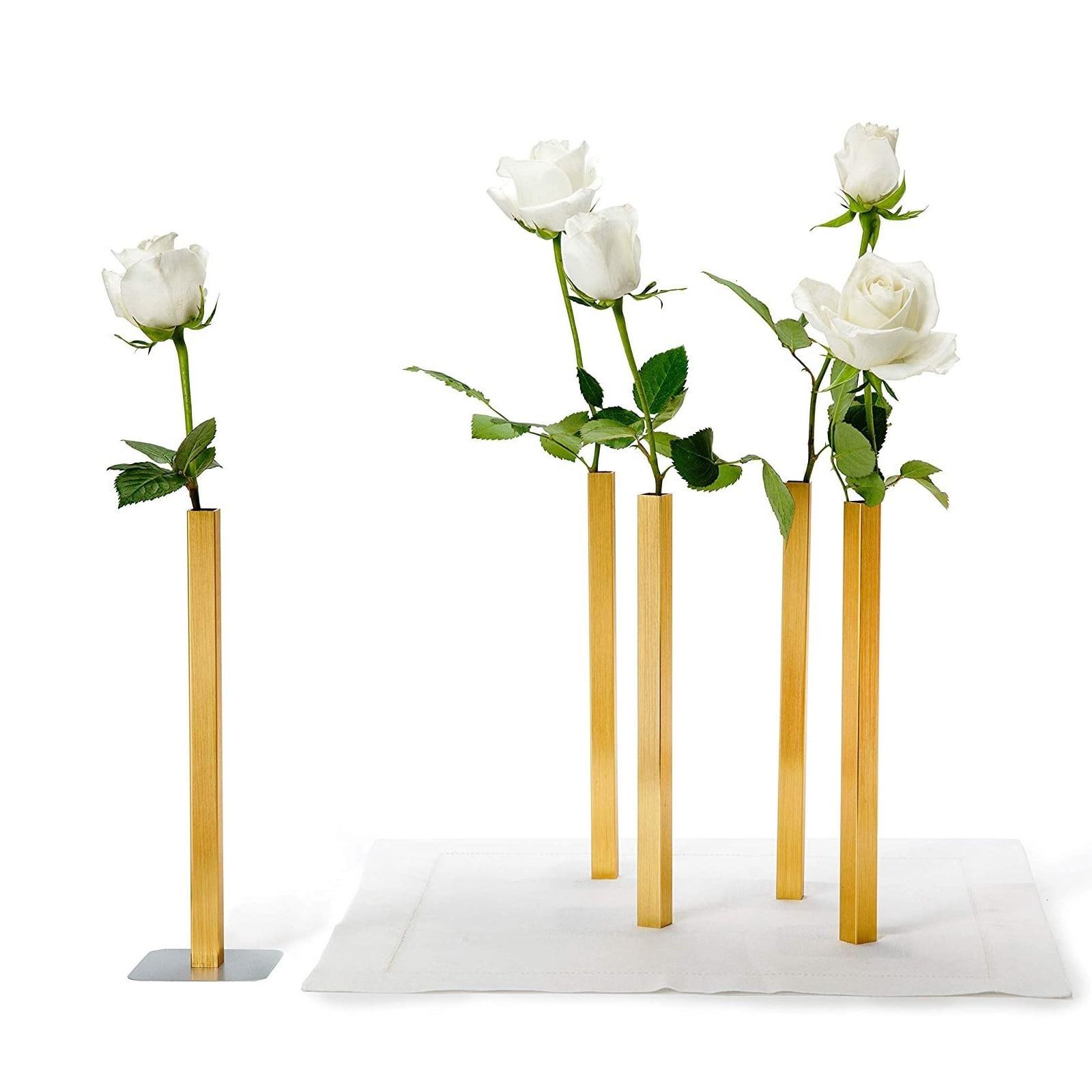 Magnetic Vase Set of 5 Aluminium Flower Vases (Copper) - Peleg Design