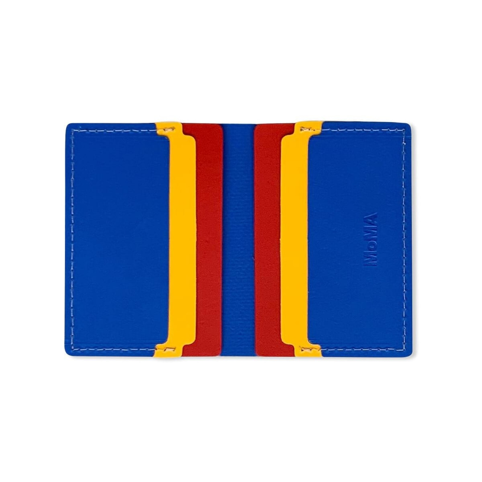 Primary Recycled Leather Wallet (Blue / Red) - MoMa