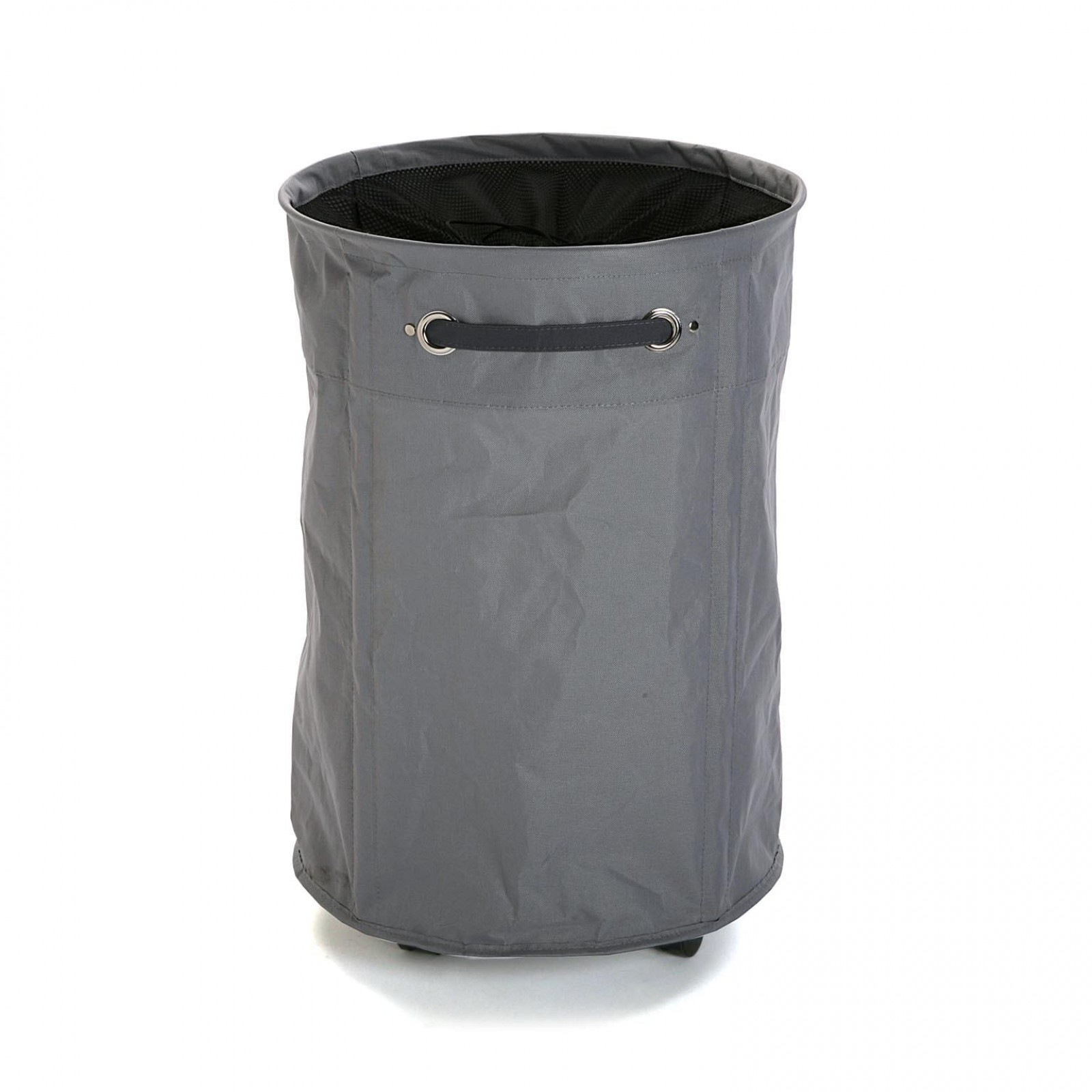 Round Laundry Basket with Wheels (Grey) - Versa
