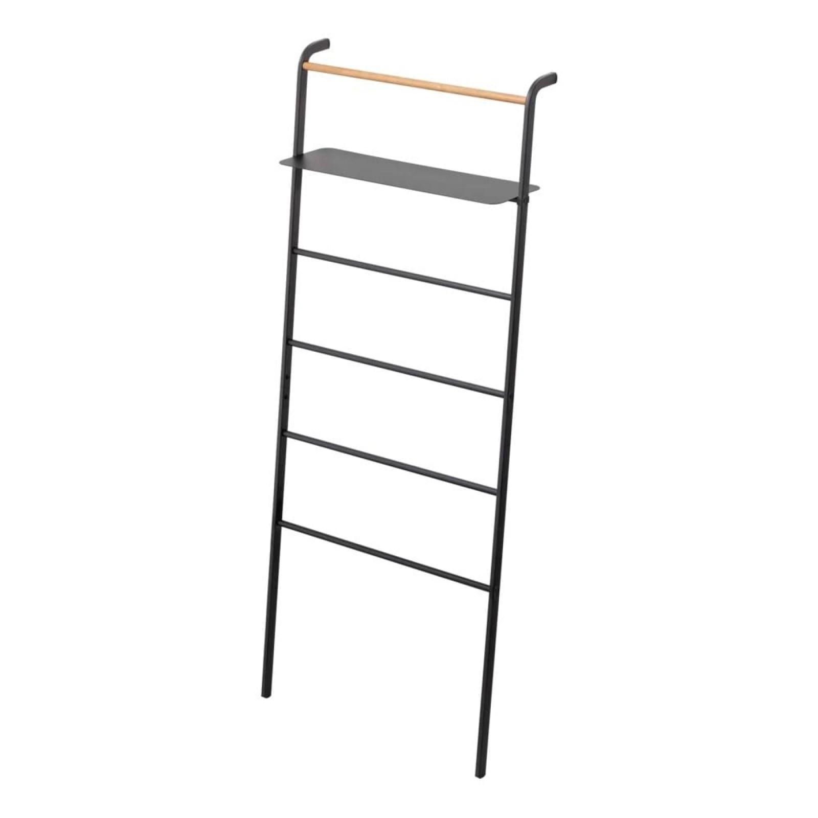 Tower Leaning Ladder with Shelf (Black) - Yamazaki