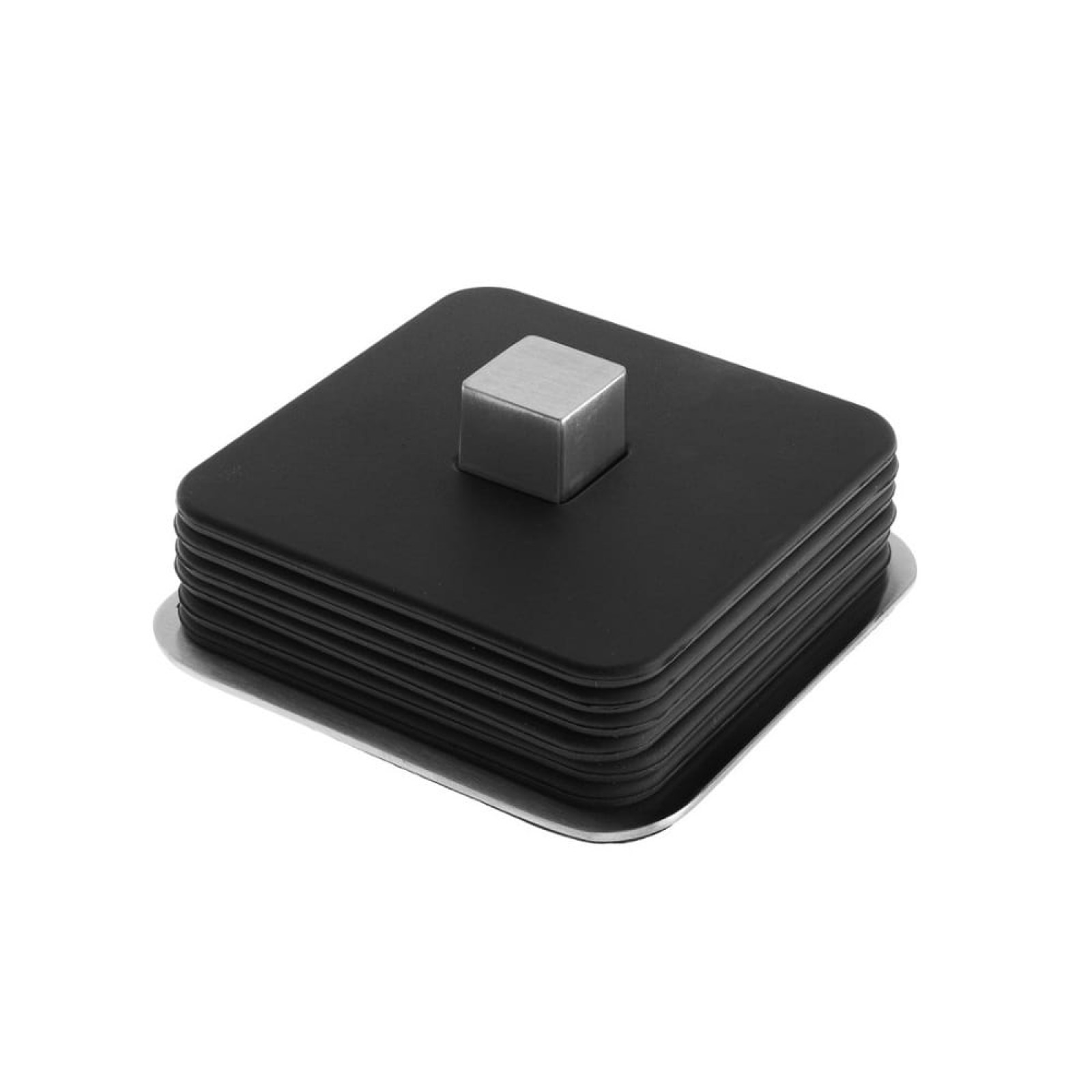 TRAYAN Square Coasters with Steel Base (Set of 6) - Blomus