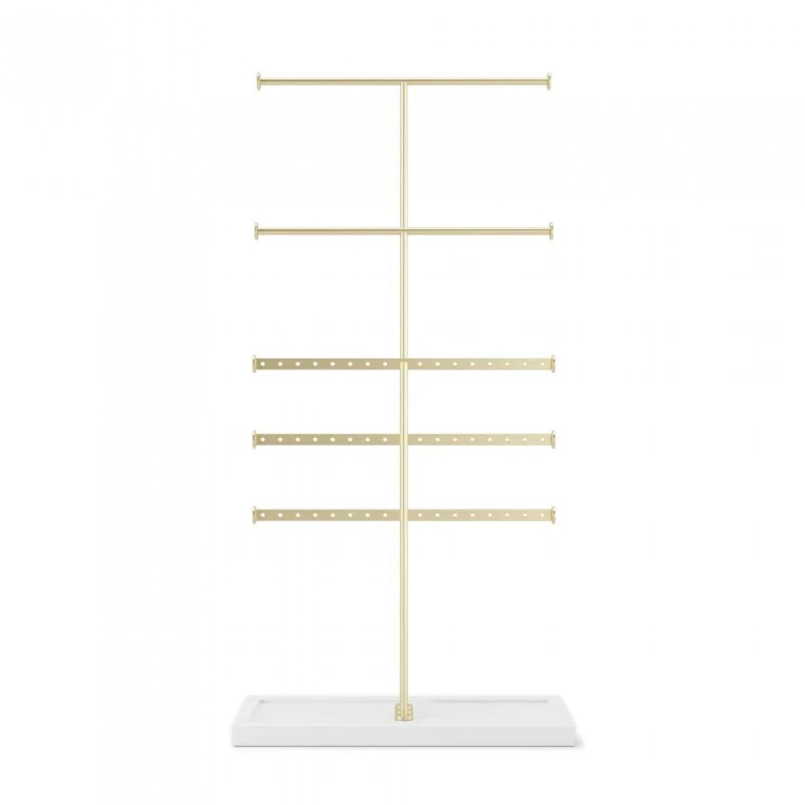 Trigem 5-Tier Jewelry Stand (White / Brass) - Umbra