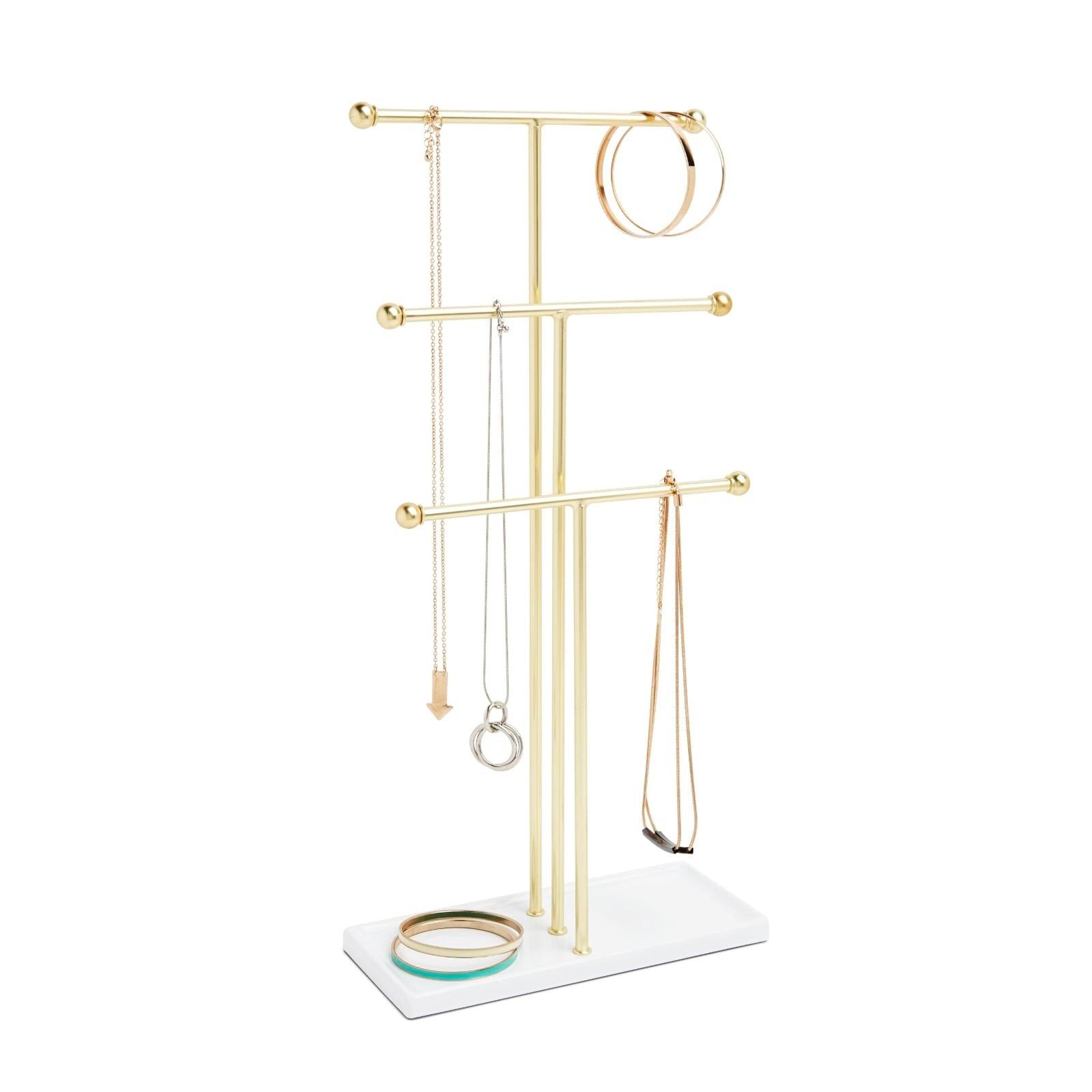 Trigem Jewelry Stand (White / Brass) - Umbra
