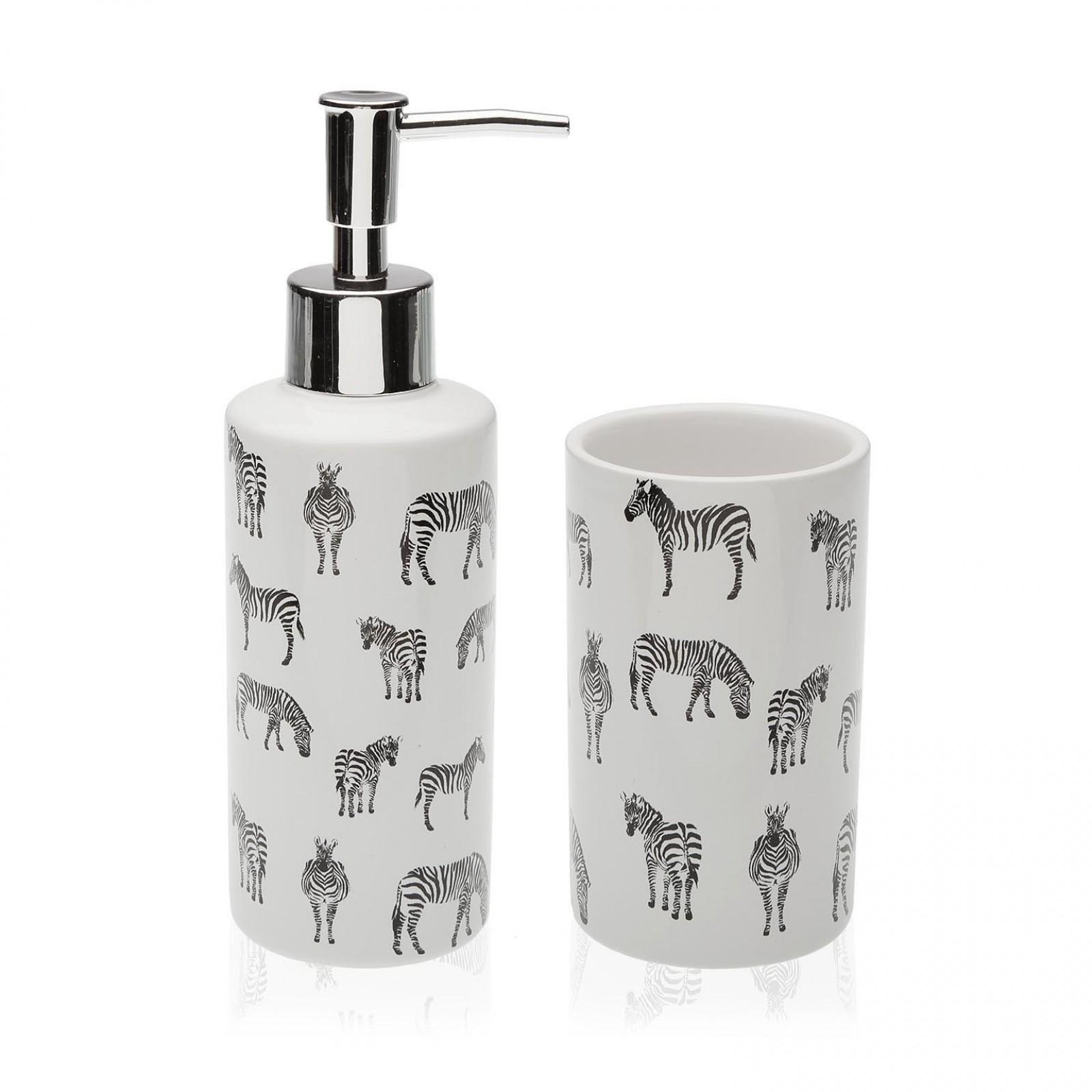 Zebra Soap Dispenser & Tumbler Set (Ceramic) - Versa