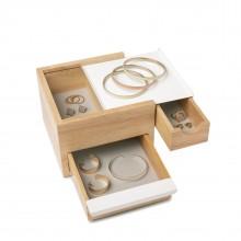Mini Stowit Jewelry Storage Box (White / Natural) - Umbra