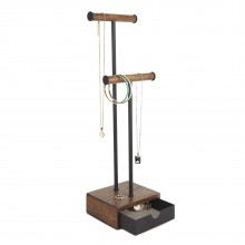 Pillar Jewelry Stand (Black / Walnut) - Umbra