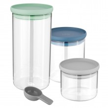 Leo 3-pc Set Glass Food Containers - BergHOFF
