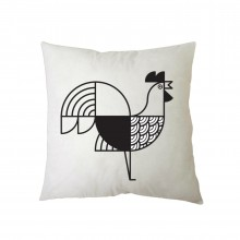 Animalia Rooster Cushion 27 x 27 cm (Black & White) - A Future Perfect