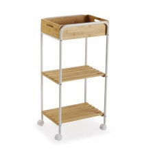 Bamboo 3-Tier Wooden Rolling Storage Cart (Natural / White) - Versa