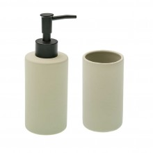 Ceramic Soap Dispenser & Tumbler Set (Beige)
