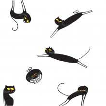 Catenkit Black Wall Sticker - Domestic
