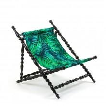 Heritage Foldable Deckchair Leave (Black) - Seletti