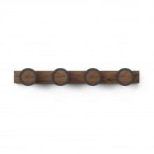 Hub Rail 4 Hook (Black / Walnut) - Umbra