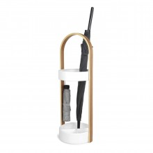 Bellwood Umbrella Stand (White / Natural) - Umbra