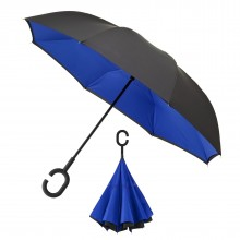 Inside Out Umbrella Double Layer Windproof (Black / Blue) - Impliva