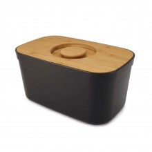 Bread Bin with Bamboo Lid / Cutting Board (Black) Joseph Joseph