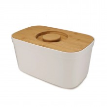 Bread Bin with Bamboo Lid / Cutting Board (White) Joseph Joseph