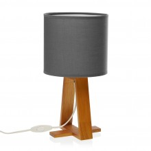 Linear Table Lamp Grey (Wood / Textile) - Versa