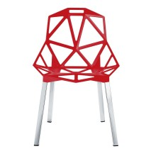 Chair One Stackable Chair (Red / Aluminium) - Magis