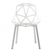 Chair One Stackable Chair (White / Aluminium) - Magis