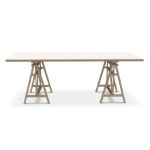 Teatro Rectangular Table (Solid Beech / MDF White) - Magis