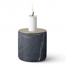 Chunk of Marble Candle Holder Large (Black / Brass) - Menu