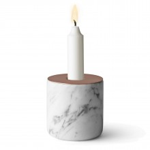 Chunk of Marble Candle Holder Large (White / Copper) - Menu