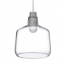 Mono Pendant Lamp 33,4 cm (Clear / Concrete Socket) - NUDE Glass