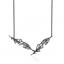 Skeleton Leaf Pendant D (Black) - Moorigin
