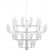 Amp Chandelier Large 35 LED Bulbs (White / White) - Normann Copenhagen