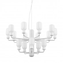 Amp Chandelier Small 15 LED Bulbs (White / White) - Normann Copenhagen