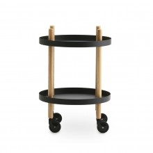 Block Table Trolley Round Ø45cm (Black / Ashwood) - Normann Copenhagen