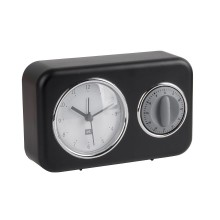 Nostalgia Alarm Clock with Kitchen Timer (Black) - Present Time