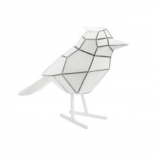 Origami Bird Statue Large (White / Black Stripes) - Present Time