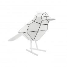 Origami Bird Statue Large (White / Black Stripes) - Present Time