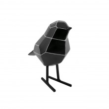 Origami Bird Statue Small (Black / White Stripes) - Present Time