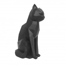 Origami Cat Sitting Statue (Black) - Present Time