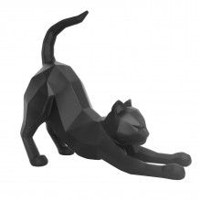 Origami Cat Stretching Statue (Black) - Present Time