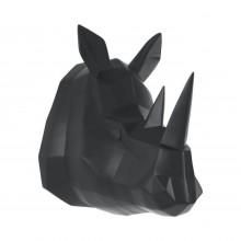Origami Rhino Wall Hanger (Matt Black) - Present Time
