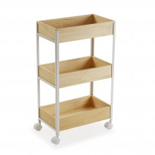 Pine 3-Tier Wooden Rolling Storage Cart (Natural / White) - Versa