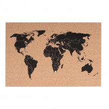 World Map Corkboard 60 x 40 - Present Time
