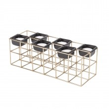 Structure Rectangle Tealight Holder (Gold) - Present Time
