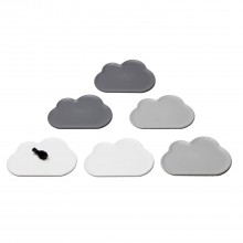 Cloud Coasters Set of 6 (Light Grey White Grey) - Qualy