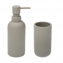 Resin Soap Dispenser & Tumbler Set (Light Grey)