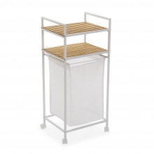 Rolling Laundry Basket with Shelving Unit White (Metal / Wood) - Versa