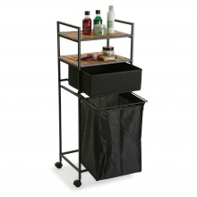 Rolling Shelving Unit with Laundry Basket (Black) - Versa