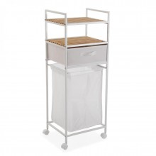 Rolling Shelving Unit with Laundry Basket (White) - Versa