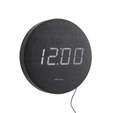 Round Wood Wall & Alarm Clock (Black) - Karlsson