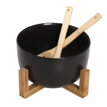 Salad Bowl 21cm with Tablespoons (Black) - Espiel